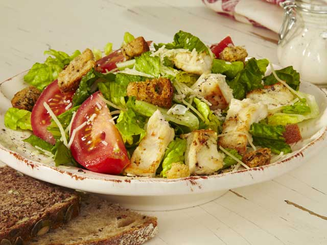 Chicken Caesar Salad Herb-Marinated Chicken Breast, Tomato, Parmesan ...